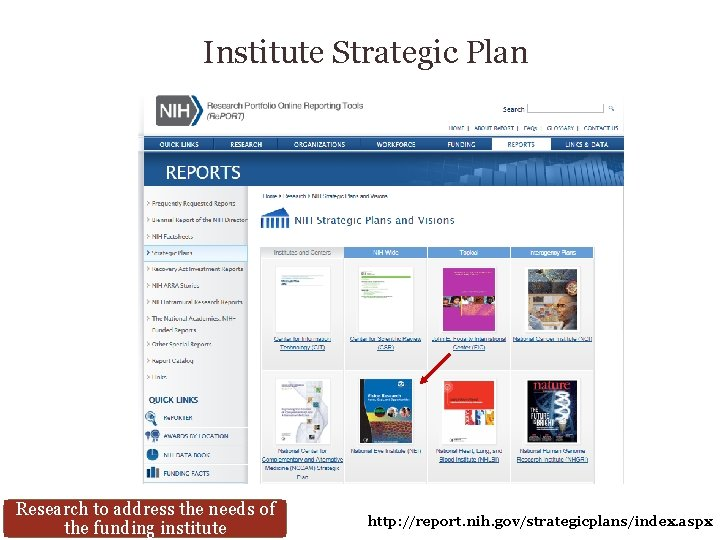 Institute Strategic Plan Research to address the needs of the funding institute http: //report.