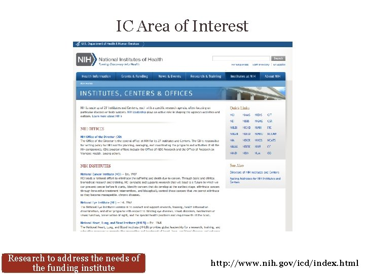 IC Area of Interest Research to address the needs of the funding institute http: