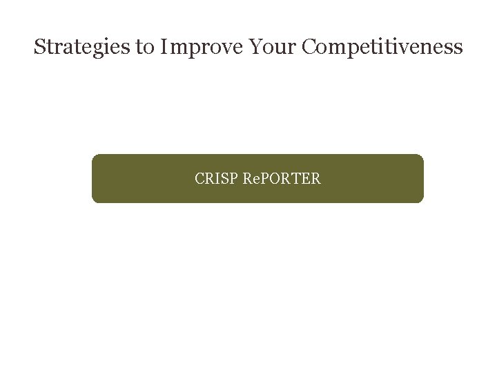 Strategies to Improve Your Competitiveness CRISP Re. PORTER