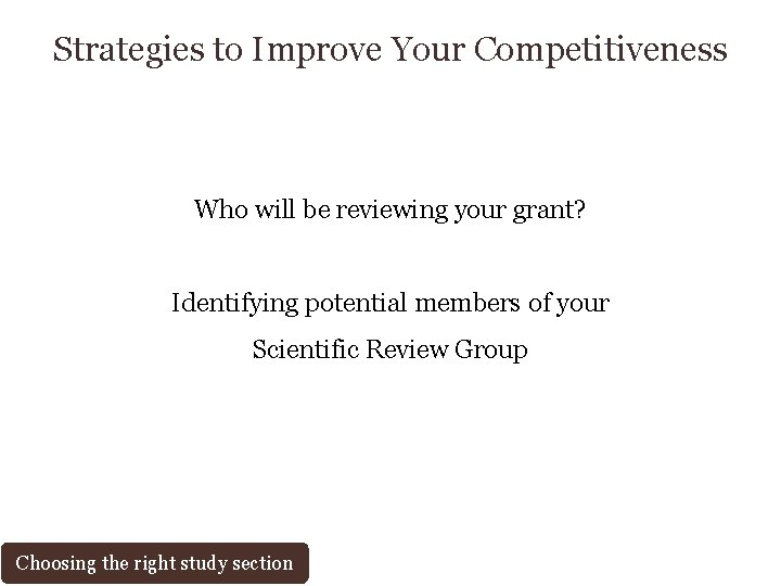 Strategies to Improve Your Competitiveness Who will be reviewing your grant? Identifying potential members
