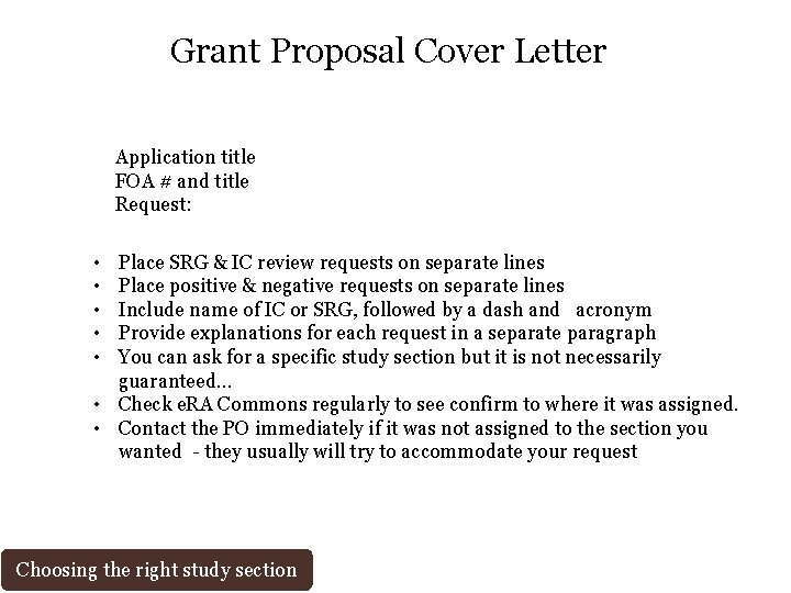 Grant Proposal Cover Letter Application title FOA # and title Request: • • •