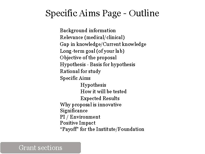 Specific Aims Page - Outline Background information Relevance (medical/clinical) Gap in knowledge/Current knowledge Long-term