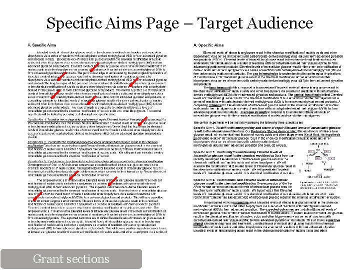 Specific Aims Page – Target Audience Grant sections