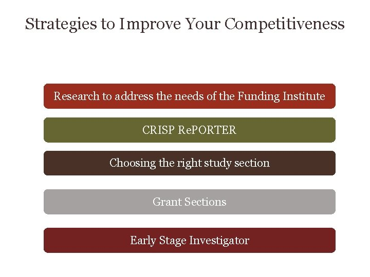 Strategies to Improve Your Competitiveness Research to address the needs of the Funding Institute