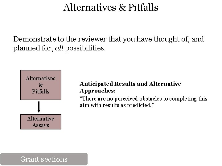 Alternatives & Pitfalls Demonstrate to the reviewer that you have thought of, and planned