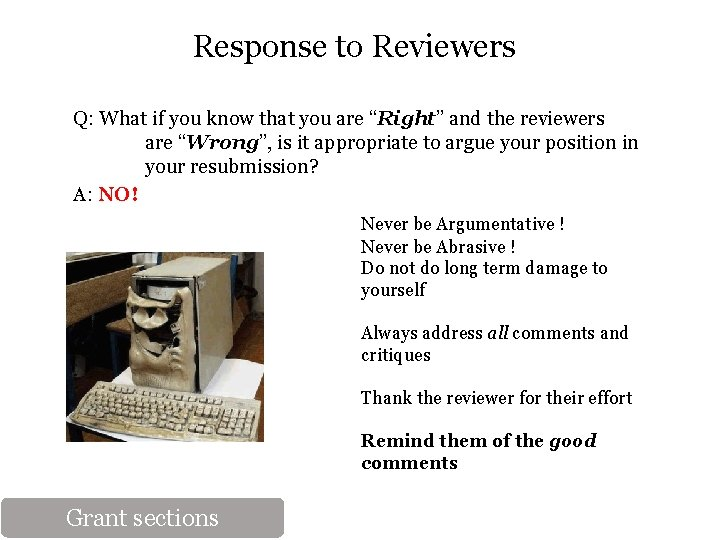 """Response to Reviewers Q: What if you know that you are """"Right"""" and the"""