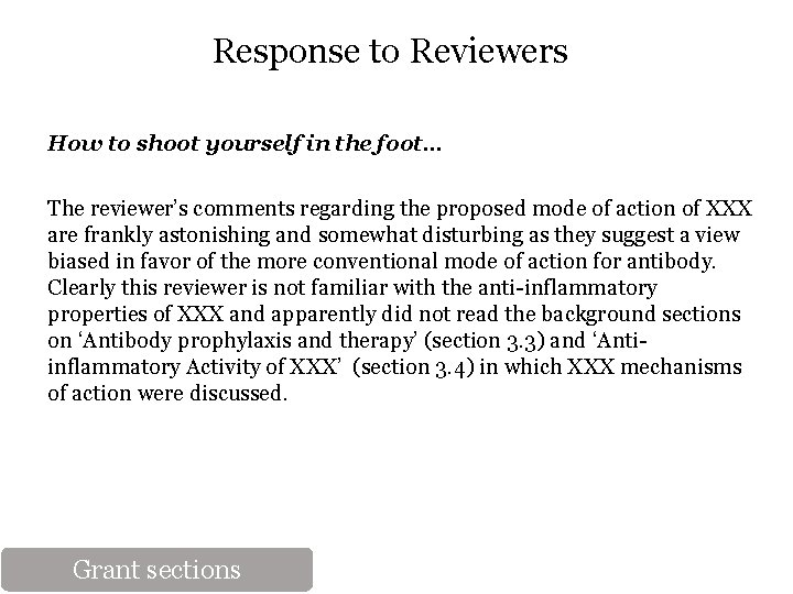 Response to Reviewers How to shoot yourself in the foot… The reviewer's comments regarding