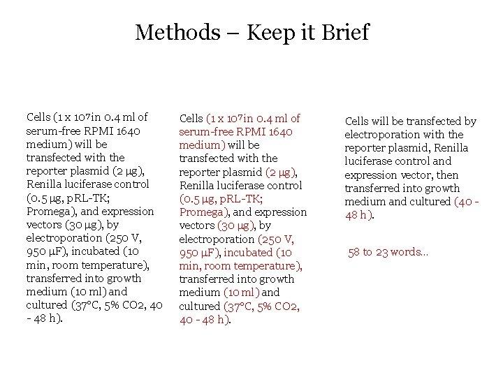 Methods – Keep it Brief Cells (1 x 107 in 0. 4 ml of