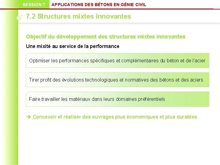SESSION 7 APPLICATIONS DES BÉTONS EN GÉNIE CIVIL 7. 2 Structures mixtes innovantes Objectif