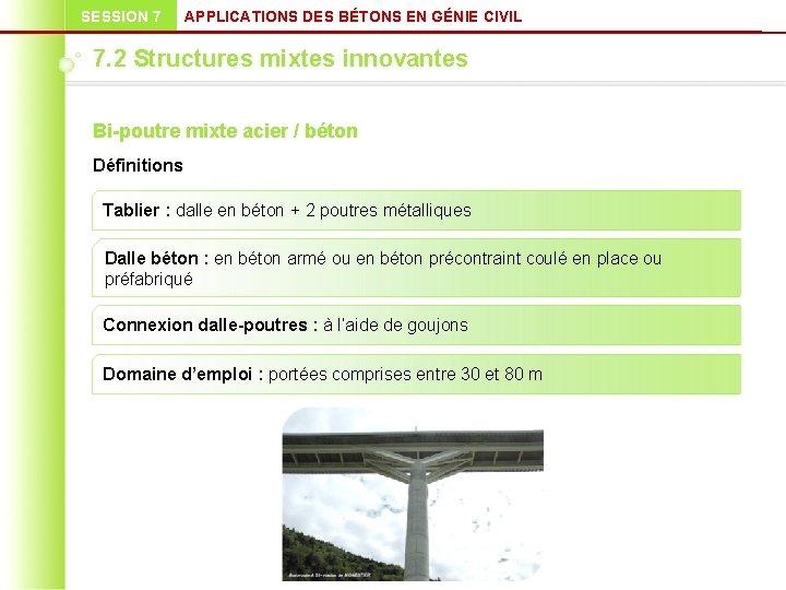 SESSION 7 APPLICATIONS DES BÉTONS EN GÉNIE CIVIL 7. 2 Structures mixtes innovantes Bi-poutre