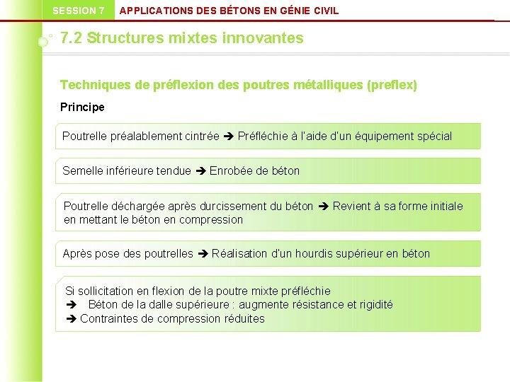 SESSION 7 APPLICATIONS DES BÉTONS EN GÉNIE CIVIL 7. 2 Structures mixtes innovantes Techniques