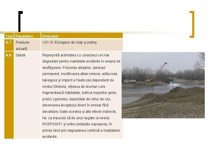 Cod Parametru Descriere A. 7 C 01. 01 Extragere de nisip și pietriș Presiune
