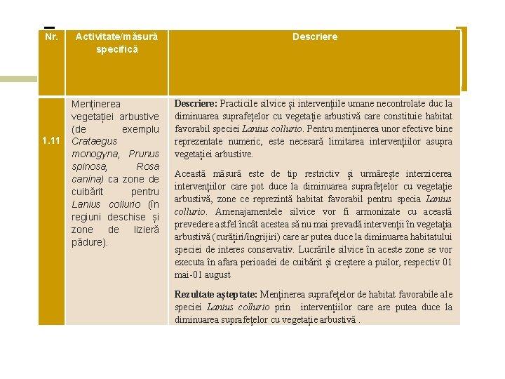 Nr. Activitate/măsură specifică Descriere Menținerea vegetației arbustive (de exemplu Crataegus monogyna, Prunus spinosa, Rosa