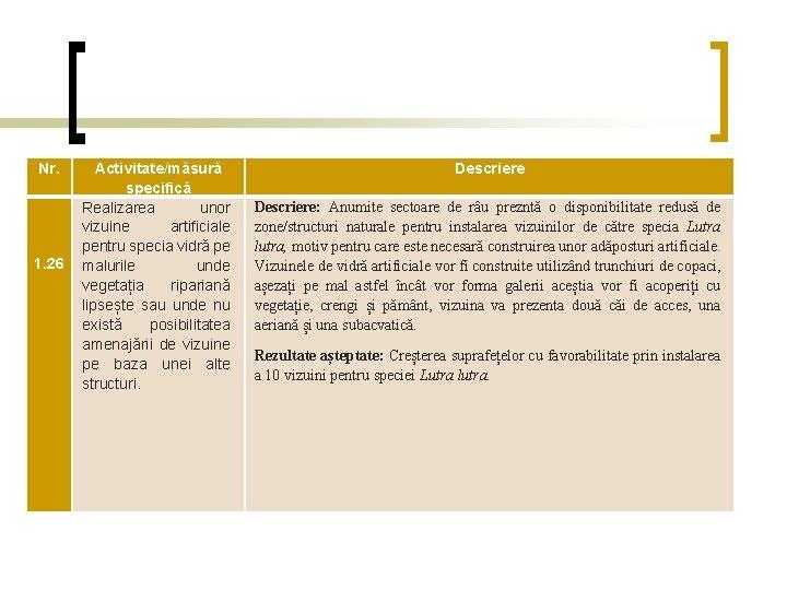 Nr. 1. 26 Activitate/măsură specifică Realizarea unor vizuine artificiale pentru specia vidră pe malurile