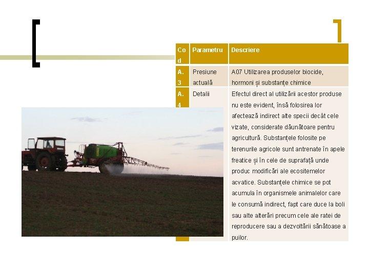 Co Parametru Descriere A. Presiune A 07 Utilizarea produselor biocide, 3 actuală hormoni și