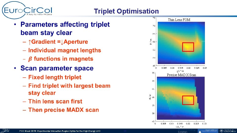 Triplet Optimisation Thin Lens FOM • Precise MADX Scan FCC Week 2018: Experimental Interaction