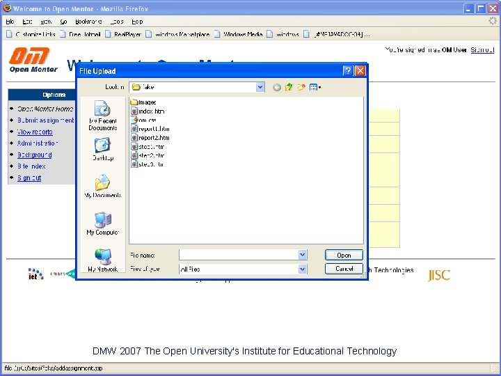 DMW 2007 The Open University's Institute for Educational Technology