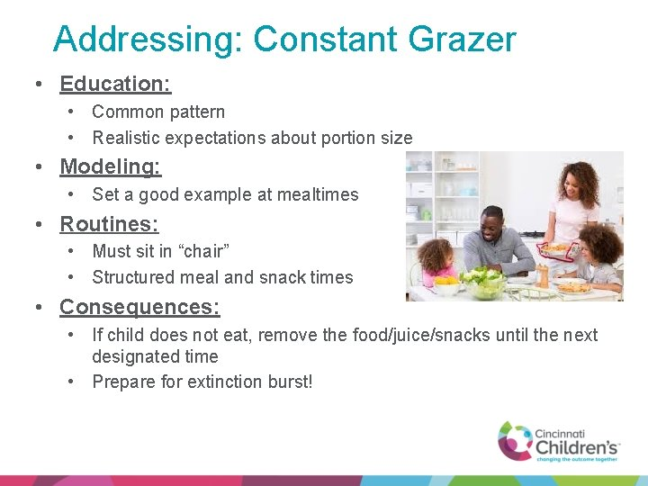Addressing: Constant Grazer • Education: • Common pattern • Realistic expectations about portion size