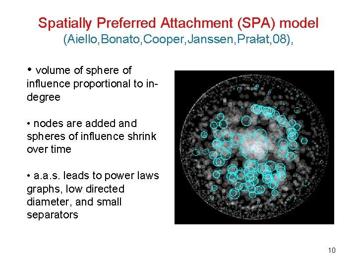 Spatially Preferred Attachment (SPA) model (Aiello, Bonato, Cooper, Janssen, Prałat, 08), • volume of