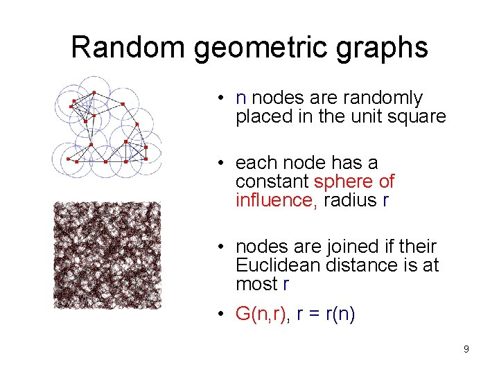 Random geometric graphs • n nodes are randomly placed in the unit square •