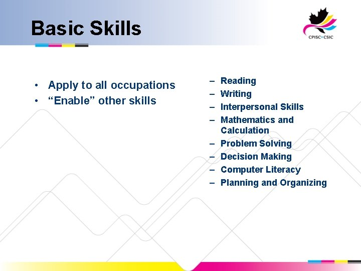 """Basic Skills • Apply to all occupations • """"Enable"""" other skills – – –"""