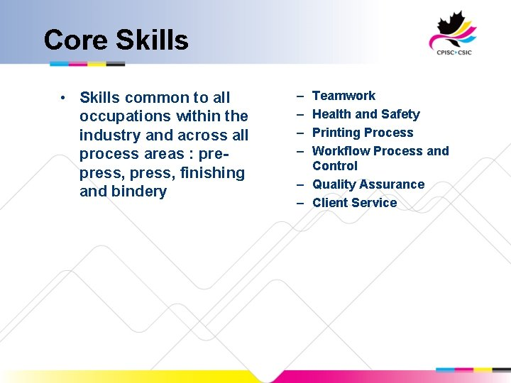 Core Skills • Skills common to all occupations within the industry and across all