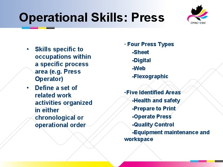 Operational Skills: Press • Skills specific to occupations within a specific process area (e.