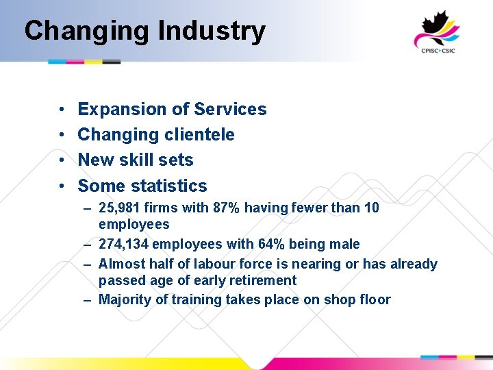 Changing Industry • • Expansion of Services Changing clientele New skill sets Some statistics