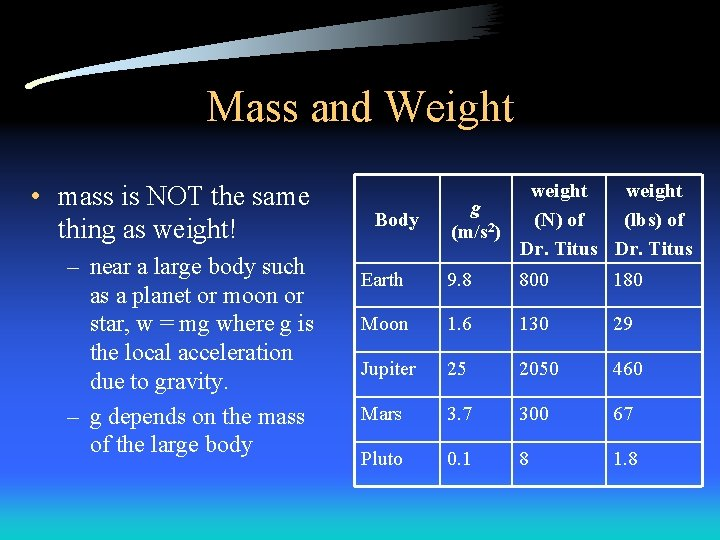 Mass and Weight • mass is NOT the same thing as weight! – near