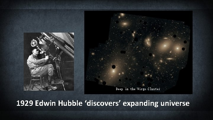 Deep in the Virgo Cluster 1929 Edwin Hubble 'discovers' expanding universe