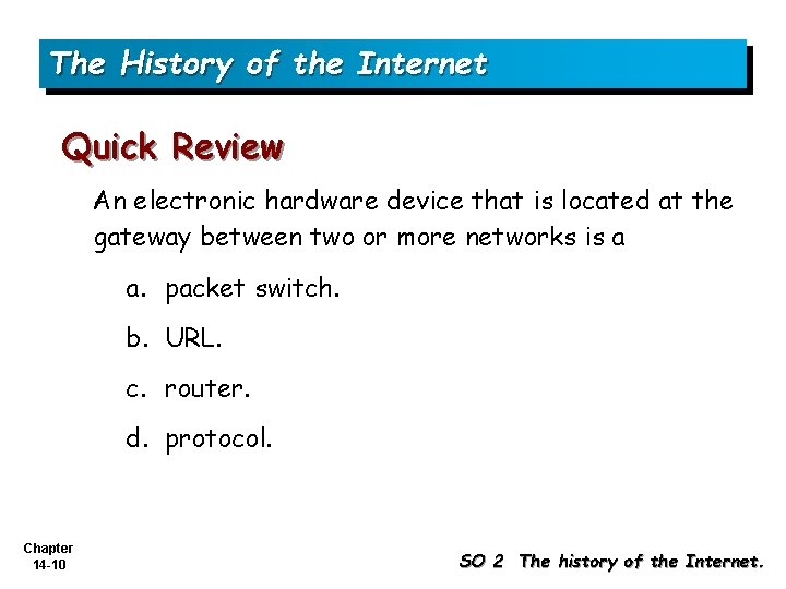 The History of the Internet Quick Review An electronic hardware device that is located