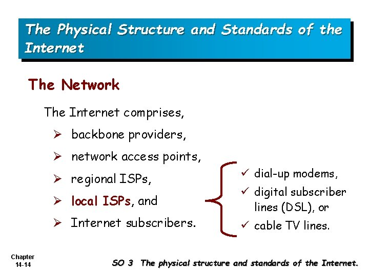 The Physical Structure and Standards of the Internet The Network The Internet comprises, Ø