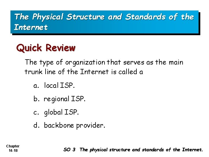 The Physical Structure and Standards of the Internet Quick Review The type of organization