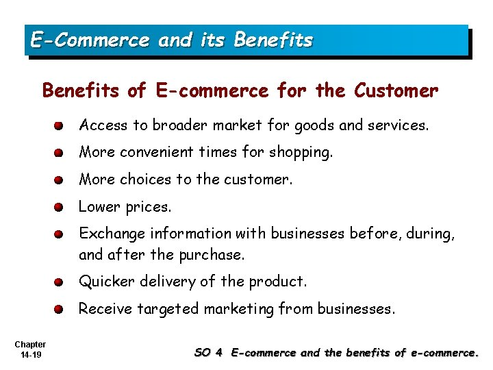 E-Commerce and its Benefits of E-commerce for the Customer Access to broader market for