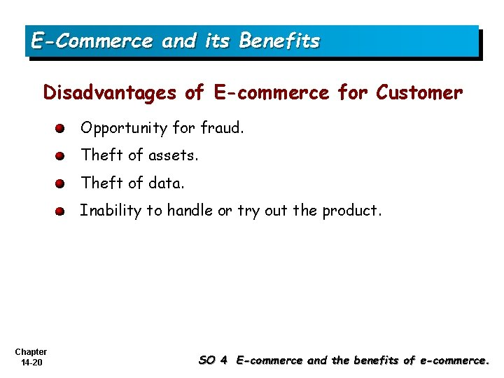 E-Commerce and its Benefits Disadvantages of E-commerce for Customer Opportunity for fraud. Theft of