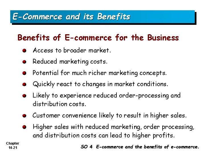 E-Commerce and its Benefits of E-commerce for the Business Access to broader market. Reduced
