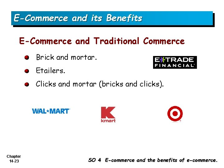 E-Commerce and its Benefits E-Commerce and Traditional Commerce Brick and mortar. Etailers. Clicks and