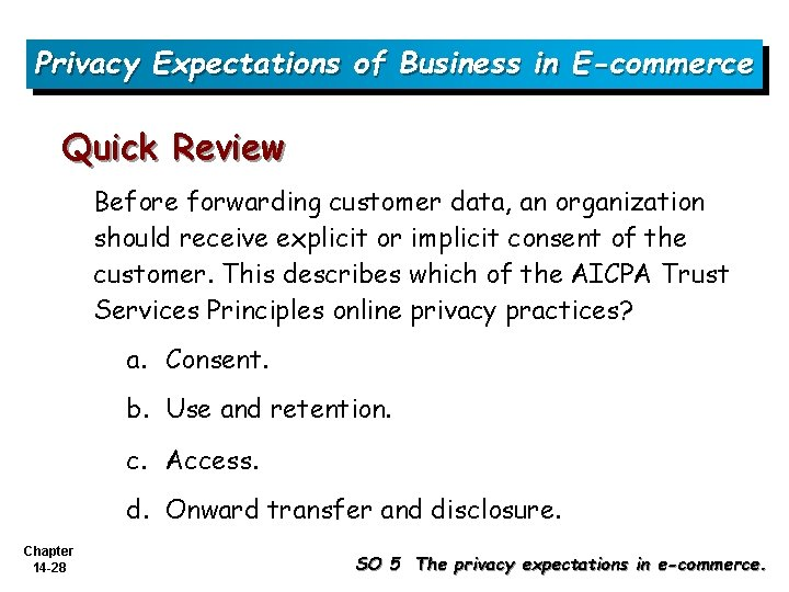 Privacy Expectations of Business in E-commerce Quick Review Before forwarding customer data, an organization
