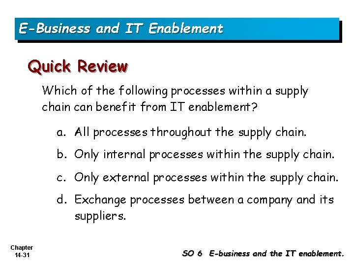 E-Business and IT Enablement Quick Review Which of the following processes within a supply