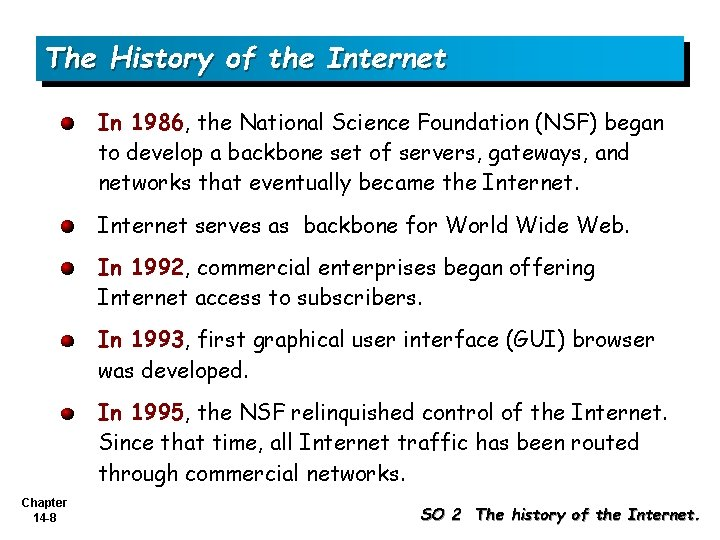 The History of the Internet In 1986, the National Science Foundation (NSF) began to
