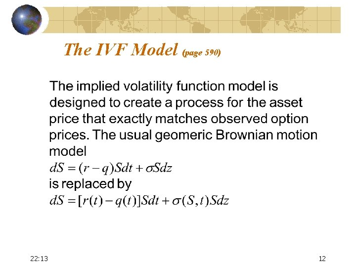 The IVF Model (page 590) 22: 13 12