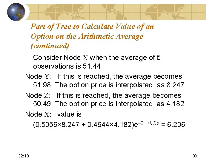 Part of Tree to Calculate Value of an Option on the Arithmetic Average (continued)