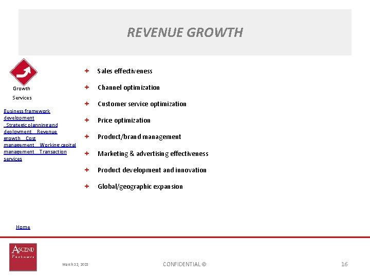 REVENUE GROWTH Sales effectiveness Channel optimization Growth Services Business framework development Strategic planning and