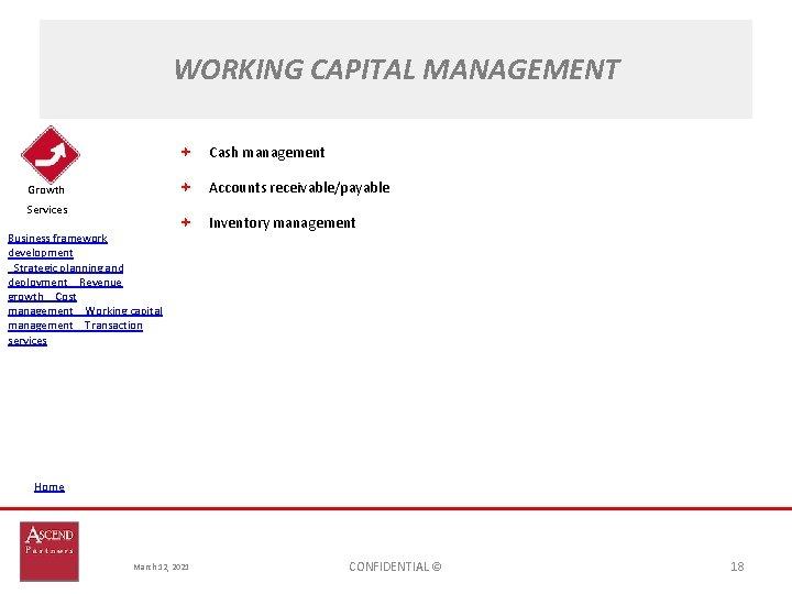 WORKING CAPITAL MANAGEMENT Cash management Accounts receivable/payable Growth Services Business framework development Strategic planning