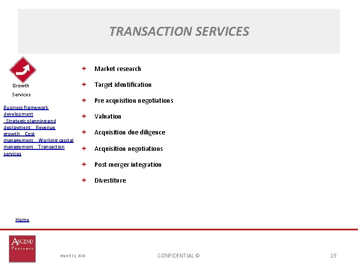 TRANSACTION SERVICES Market research Target identification Growth Services Business framework development Strategic planning and