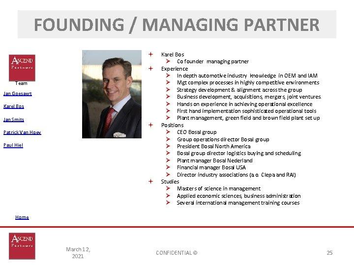 FOUNDING / MANAGING PARTNER Team Jan Goesaert Karel Bos Jan Smits Patrick Van Hoey