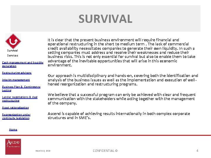 SURVIVAL Survival Services Cash management and liquidity generation Restructuring advisory Interim management Business Plan