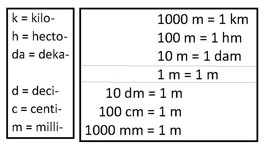 k = kiloh = hectoda = dekad = decic = centim = milli- 1000