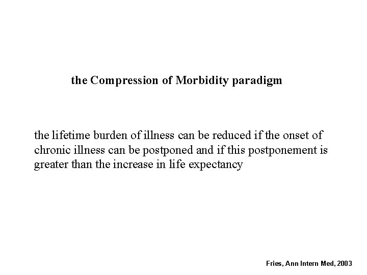 the Compression of Morbidity paradigm the lifetime burden of illness can be reduced if