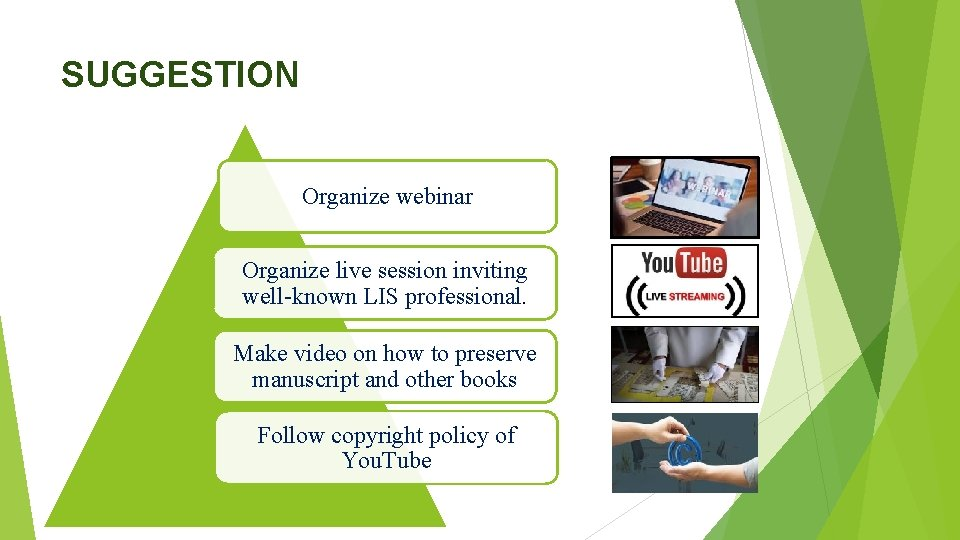 SUGGESTION Organize webinar Organize live session inviting well-known LIS professional. Make video on how